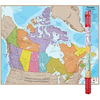 Amazoncom Round World Products RWPHM Hemispheres Laminated - World map canada