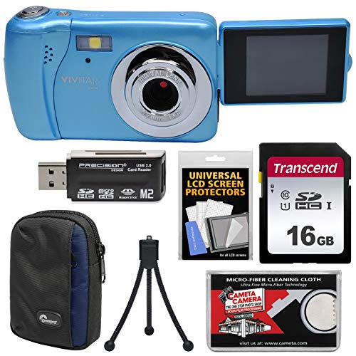 Vivitar Blue Vivicam (Vivitar ViviCam VXX14 Selfie Digital Camera (Blue) with 16GB Card + Case + Tripod + Reader + Kit)
