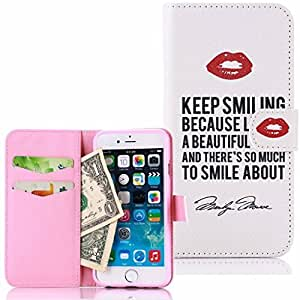iPhone 6 Case UHIPPO Cross Grain Leather Flip Case with Card Slots TPU Inner Shell for iPhone 6 4.7 Inch Screen Marilyn Monroe Qoute by mcsharks