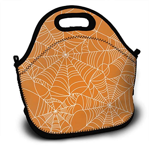 YyTiin Halloween Spider Web Portable Carry Insulated Lunch Bag - Large Reusable Lunch Tote Bags - Bento Bag for Adults