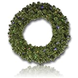 Custom & Unique (36'' Inches) 1 Single Large Size Decorative Holiday Wreath for Door w/ Double Sided Artificial Winter Yule Time Christmas Festive Flocked Pine Branches & Leaves Style (Multi-Color)