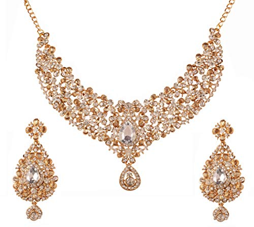 Touchstone Indian Bollywood Traditional Floral Theme White Rhinestone and Blue Faux Sapphire Bridal Designer Jewelry Necklace Set for Women in Antique Gold Tone - Designer Jewelry Bridal