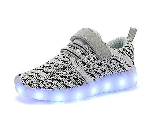 ByBetty Kids Boys Girls LED Light up Shoes USB Charging Flashing Sneakers Trainers Red 11.5 UK Child