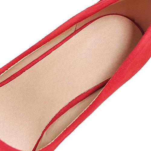 VogueZone009 Femme Tire Pointu Talon Haut Dépolissement Couleur Unie Chaussures Légeres Rouge QOyEkALWpD