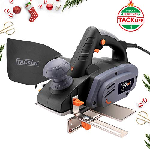 Planer 3-1/4-Inch, Tacklife 7.5-Amp, 16,000 Rpm Electric Hand Planer with Adjustable Cutting Depth, Dust Bag, Parallel Fence Bracket, Ideal Tool for DIY