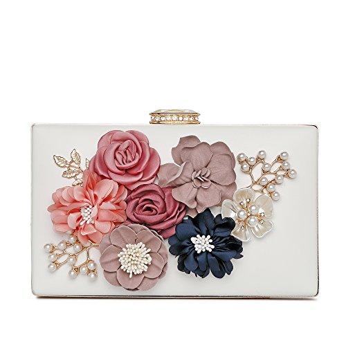 Evening Clutch Purse Women's Satin Flower Pearl Beaded Evening Handbag