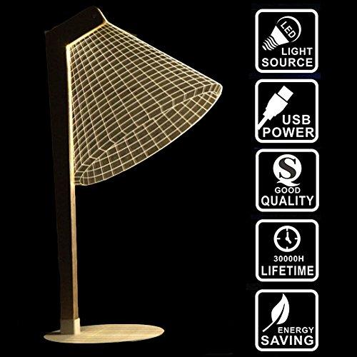 Nattork Lighting Effects 3D Optical Illusion Table Lamp Desk Night Light Cool White Home Decor Lamp Gift Light