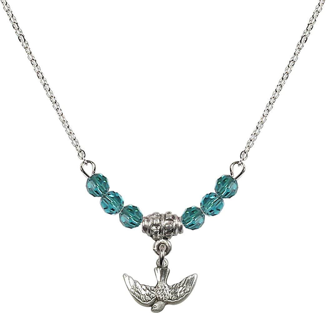 18-Inch Rhodium Plated Necklace with 4mm Zircon Birthstone Beads and Sterling Silver Holy Spirit Charm.