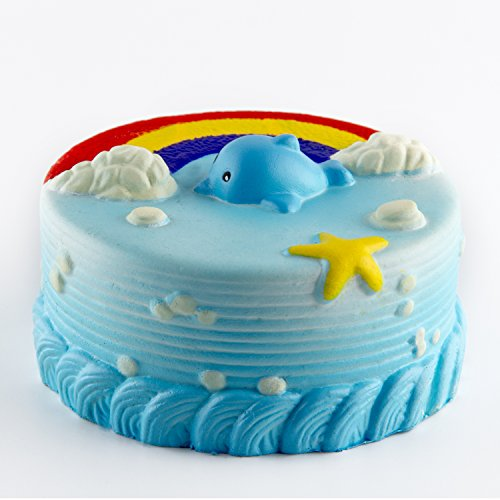 BeYumi Squishy Toy, Jumbo Rainbow Dolphin Cake Cream Scented Slow Rising Toy Soft Cute Stress Reliever