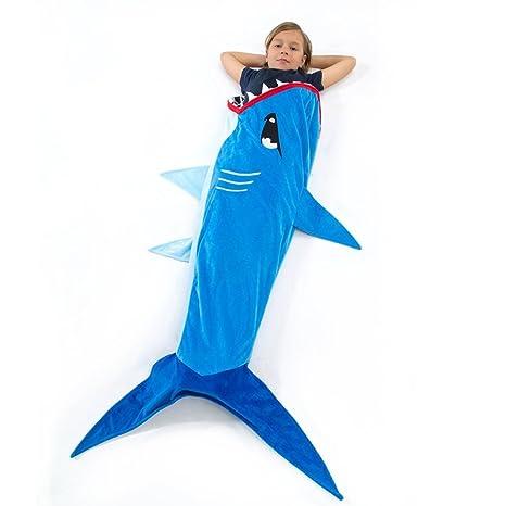 geekbuzz Comfy franela tiburón cola manta niños Super suave forro polar saco de dormir regalo para