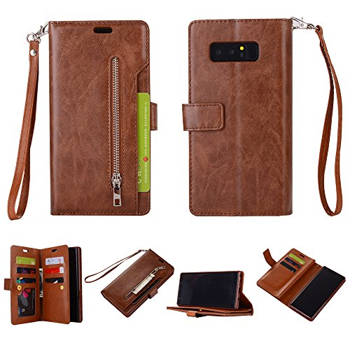 Galaxy Note 8 Case, SUPZY Leather [9 Card slots] [photo & wallet pocket] Multi-function Premium PU Leather Magnetic Flip Shockproof Zipper Wallet Case Cover for Samsung Galaxy Note 8 (Brown)