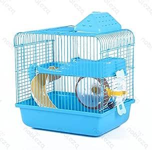 Nobleza 021406 - Jaula Para roedores, Color Azul con Tobogán y Una Rueda. Medidas: Largo 28 cm x Ancho 21 cm x Alto 31 cm