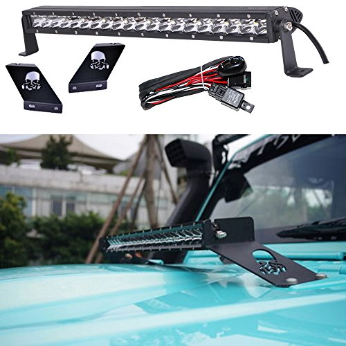 Omotor Jeep Wrangler JK 20-inch Straight Led Light Bar and Hood Mounting Brackets with Wiring