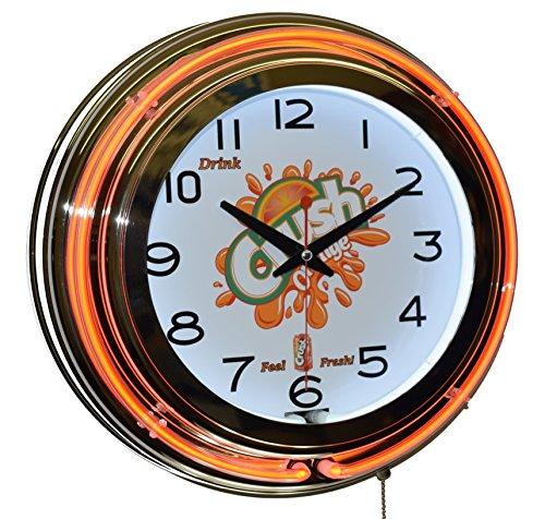 "15"" Drink Orange Crush Feel Fresh! Orange Double Neon Advertising Clock Wall Decor"