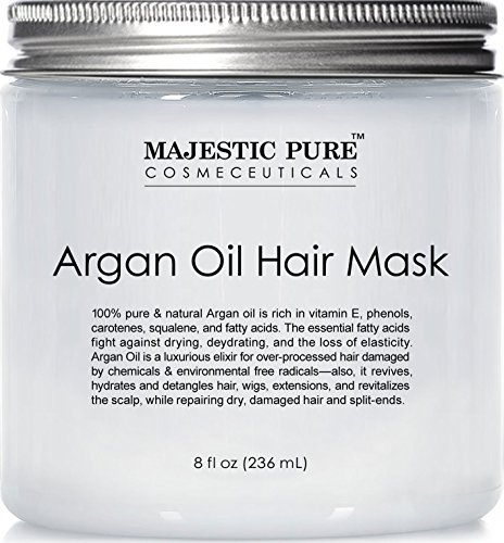 Majestic Pure Argan Oil Hair Mask, Natural Hair Care Product, Hydrating & Restorative Hair Repair Mask – 8 fl Oz