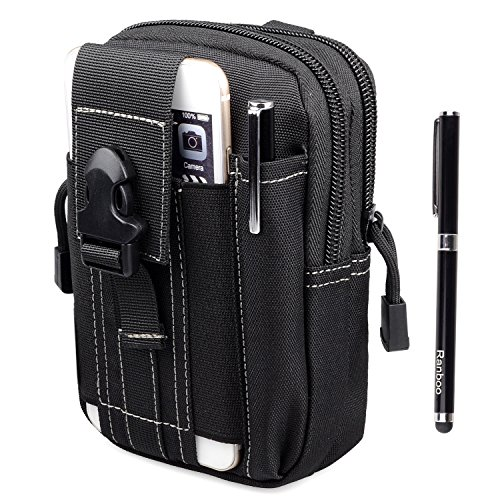 Amy Men Nylon Tactical Molle Pouch Cell Phone Belt Clip Holster EDC Utility Gadget Pouch Waist Bag Outdoor Gear for iPhone 6 6S Plus Samsung Galaxy Note 5 4 3 S5 S4 S6 Edge Plus LG G4+Stylus Pen-Black