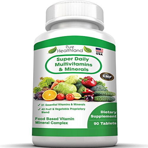 FOOD BASED Super Daily Multivitamin Supplement Tablets Best For Adult Men Women Seniors With 42 Natural Fruits Vegetables Blend, 21 Essential Vitamins Minerals. Boost Your Immune System And Energy! (Circulation Blend)