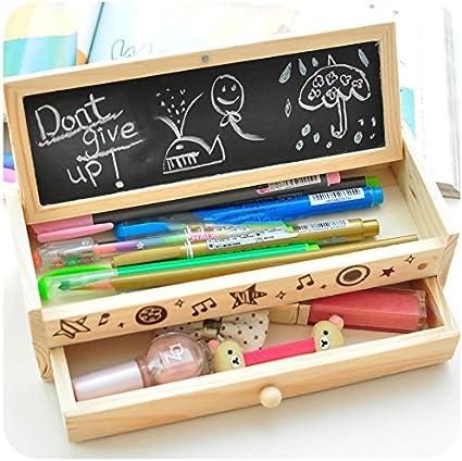 Shager - Estuche multifuncional de madera para lápices, cajón de almacenamiento para estudiantes y niños (20,5 x 8 x 6 cm): Amazon.es: Oficina y papelería