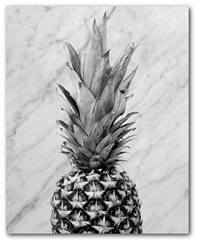 Pineapple Print, Black and White Pineapple on Marble, 8 x 10 Inches, Unframed - Wall Marble Decor