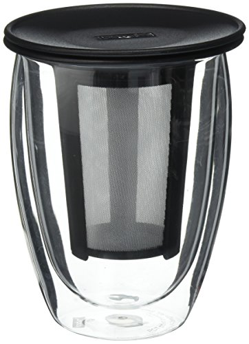 Bodum Tea For One Double 0.35-Liter Wall Glass Tea Strainer, 12-Ounce, Black ()