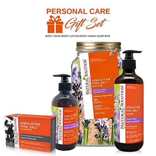 (Natural Solution Organic Personal Care Gift Set Lavender Body Soak, Lavender Oil Body Wash and Body Lotion with Charcoal Soap bar | 4 in 1)