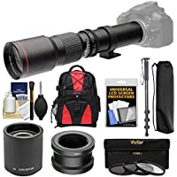 Vivitar 500mm f/8.0 Telephoto Lens with 2x Teleconverter (=1000mm) + Monopod + Backpack + Filters Kit for Sony Alpha A3000, A5000, A5100, A6000, A7, A7R, A7S E-Mount Camera