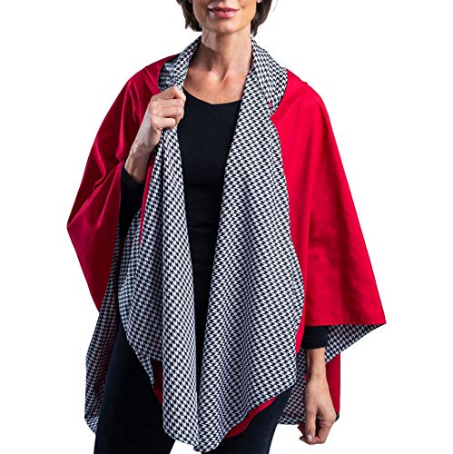 RainCaper Rain Poncho for Women - Reversible Rainproof Hooded Cape in Gorgeous Ultrasoft Colors (Red and B&W Houndstooth)
