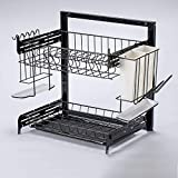 Black Kitchen Double Layer Drain Bowl Rack Multi Function Card Buckle Storage Rack