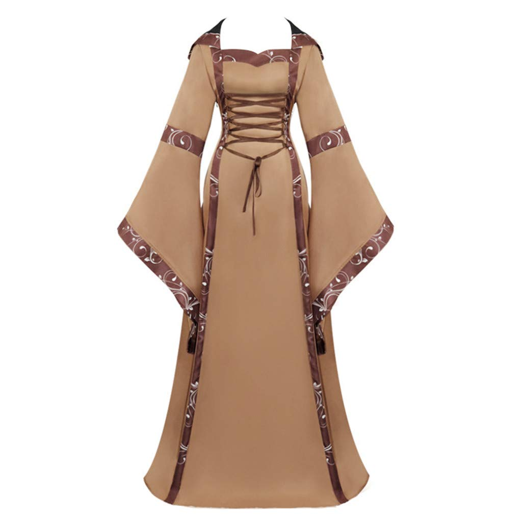 Funnygals - Fashion Women's Dress Ladies Medieval Vintage Style Solid Oversize Hooded Dress Cosplay Costume Brown by Funnygals - Clothing