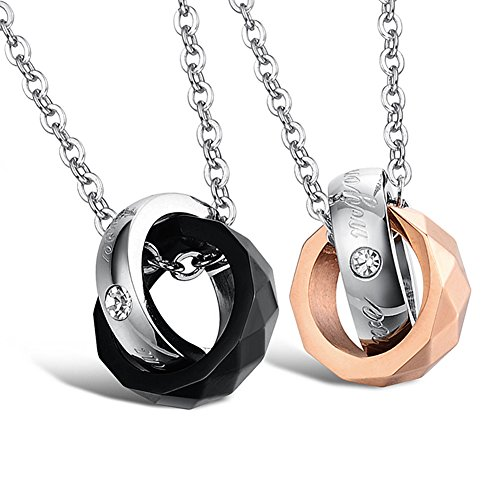 [Dixivi Jewelry A Pair Couple Stainless Steel Interlocking Double Rings Engraved Promise Necklace] (Matching His And Her Costumes)