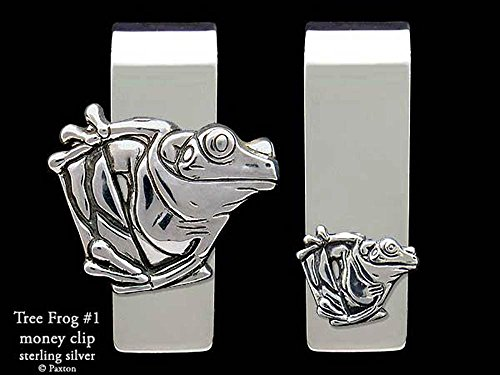 Tree Frog #1 Money Clip in Solid Sterling Silver Hand Carved, Cast & Fabricated by Paxton by Paxton Jewelry