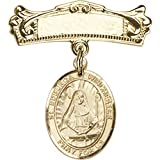 14kt Yellow Gold Baby Badge with St. Edburga of Winchester Charm and Arched Polished Badge Pin 7/8 X 3/4 inches