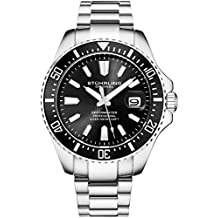 Stuhrling Original Mens Black Divers Watch - Pro Sport Watches with Screw Down Crown and Water Resistant to 330 Ft. - Analog Dial, Quartz Movement - Depthmaster Watches for Men Collection