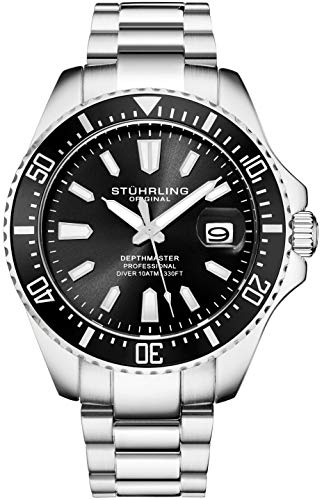(Stuhrling Original Mens Black Divers Watch - Pro Sport Watches with Screw Down Crown and Water Resistant to 330 Ft. - Analog Dial, Quartz Movement - Depthmaster Watches for Men Collection)