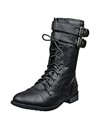 Womens Ankle Boots Buckle Accent Studs Lace Up Combat Boots