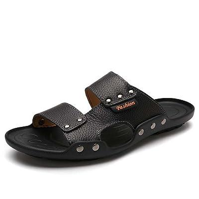 Hommes Cool Pantoufles En Cuir Bout Ouvert Sandales Solides Respirant Antidérapant Vacances Plage Chaussures Rivets Slingbacks Casual Chaussures Eu Taille 38-44