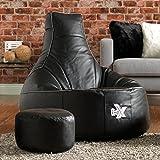 La Chaise de Jeux i-eX®- Faux Cuir- Une Chaise Pouf Poire de Jeux 'Taille Homme'- Idéal pour ceux qui jouent aux jeux de vidéos (Acier/Noir)