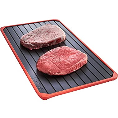 VonShef Defrosting Tray with Red Silicone Border Thaws Frozen Food Faster No Electricity, No Chemicals, No Microwave