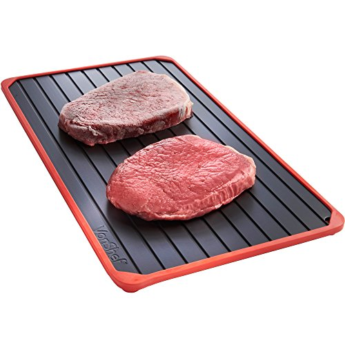 VonShef Defrosting Tray with Red Silicone Border Thaws Frozen Food Faster No Electricity, No Chemicals, No - Than Average Smaller
