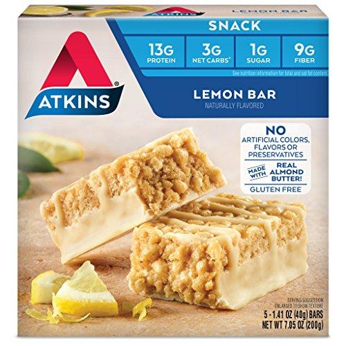 Atkins Gluten Free Snack Bar, Lemon Bar, 5 Count (Pack of 6)