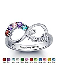 JewelOra Personalized Simulated Birthstone Infinity Family Mom Jewelry 925 Sterling Silver Names Ring