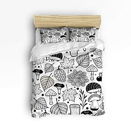 - EZON-CH Soft Duvet Cover Sets Children Bed Sets for Girls Boys,Hand Painting Birch Animal Black and White Bedding Sets,Include 1 Comforter Cover with 2 Pillow Cases Twin Size