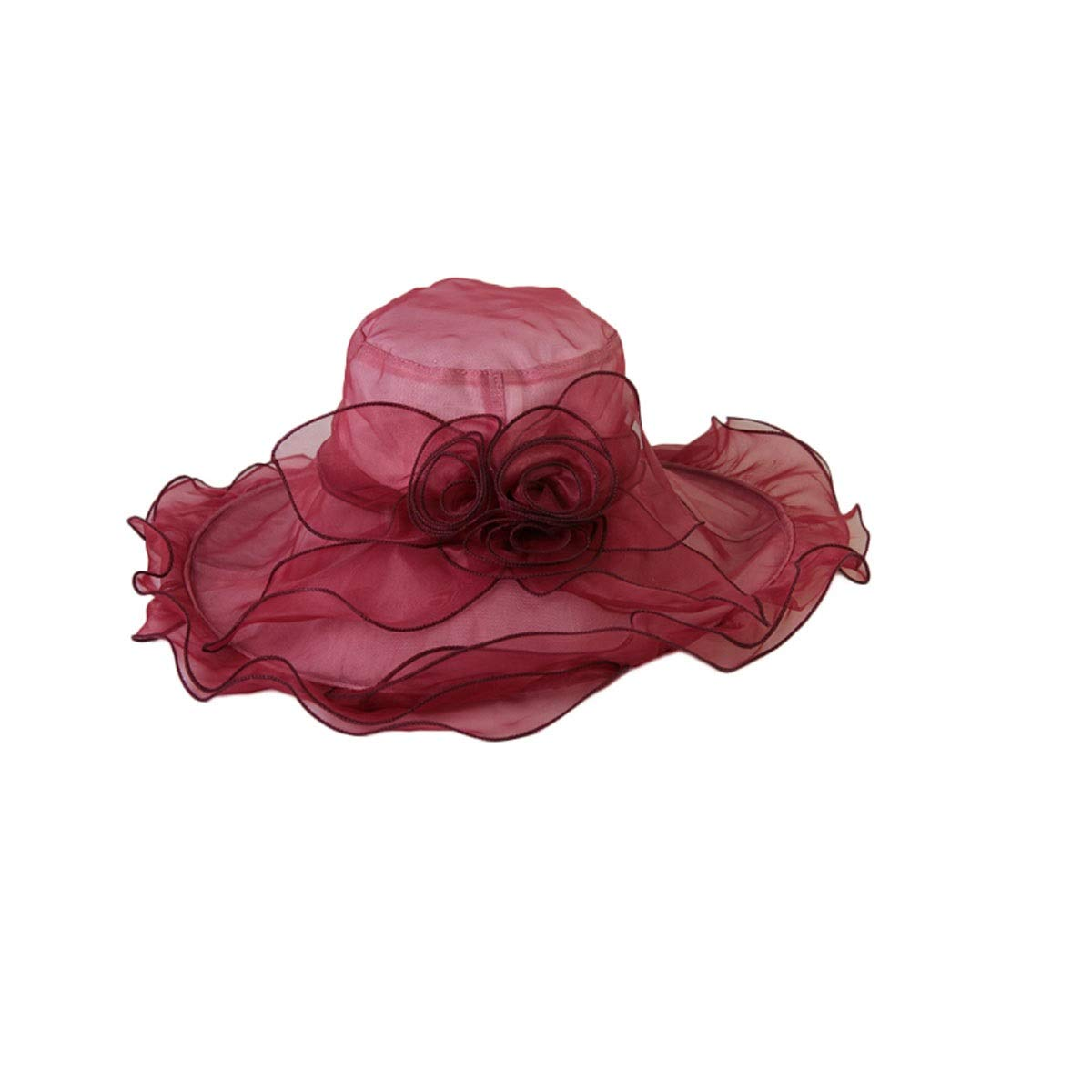 HUIJUNWENTI Hat, Summer Wooden Ear Pleated Three-Dimensional Female Visor, Fashion Hat Female Visor, Size: Adjustable, Color: Gray, Pink, Red, Blue, Wine Red, Yellow Good (Color : Wine red) by HUIJUNWENTI