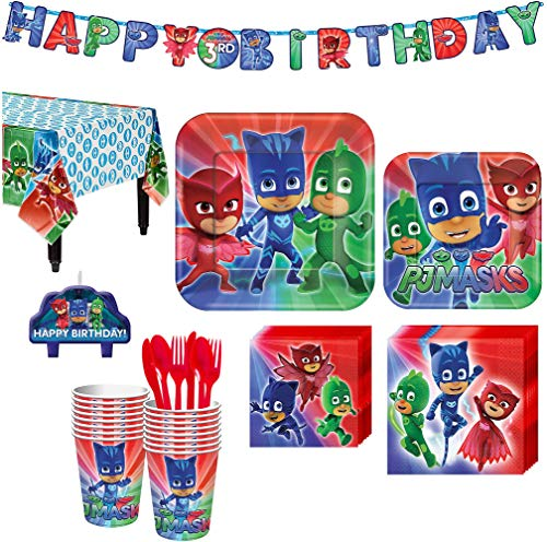 PJ Masks Birthday Party Kit, Includes Happy Birthday Banner and Birthday Candles, Serves 16, by Party City ()