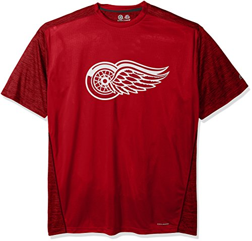 NHL Detroit Red Wings Men's Big & Tall Short Sleeved Poly Screen Tee, X-Large Tall, Red