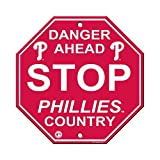 "Philadelphia Phillies P Logo 12"" Plastic Wall STOP Sign Country Danger Ahead Baseball"