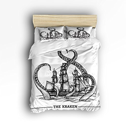 Family Decor Pirate Ship Octopus Print Home Comforter Bedding Sets Duvet Cover Sets Bedspread for Adult Kids,Flat Sheet, Shams Set 4Pieces,4 Pcs Queen Size for Kids Teenage Teens