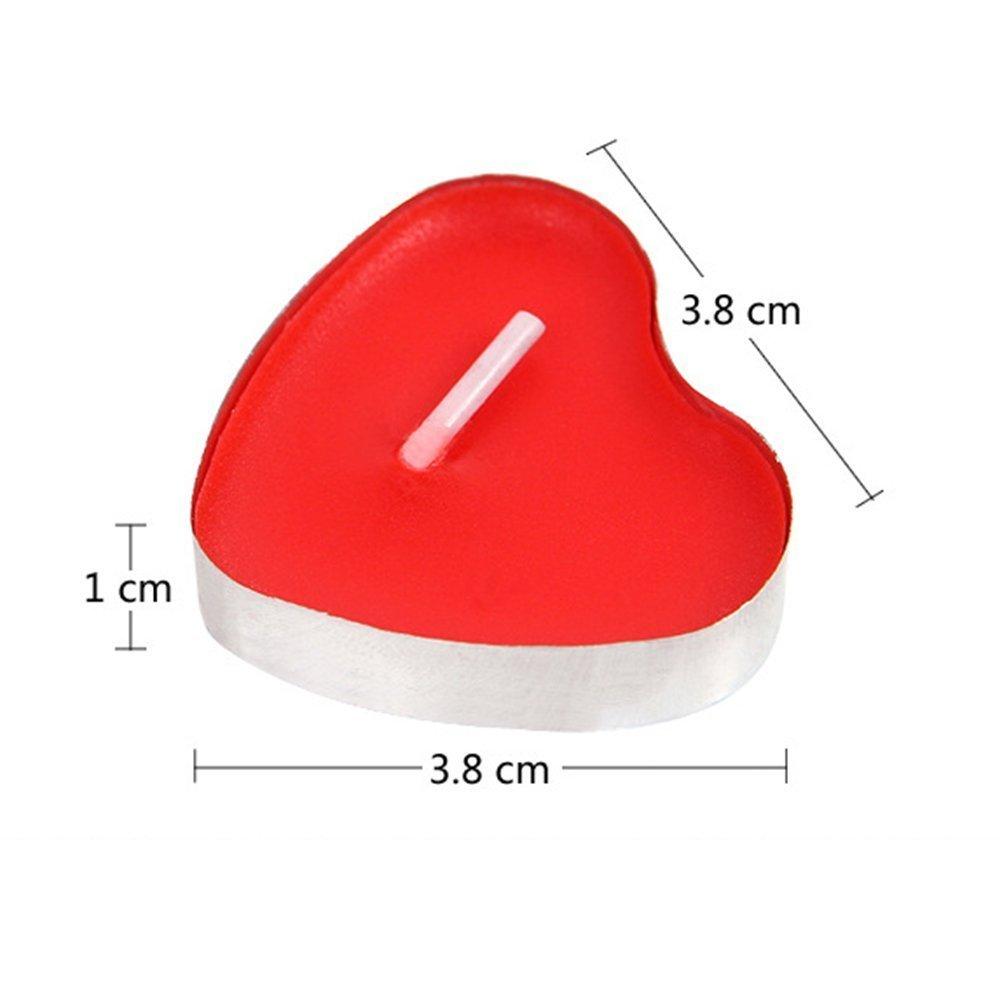 Xrten Petites Bougies D/écoratives en Forme de C/œur sans Fum/ée pour F/ête Anniversaire Rouge