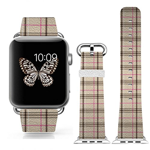 Apple Watch Band 38mm, Replacement Band Genuine Leather Iwatch Strap With Silver Metal Clasp For iWatch 38mm beautiful cell and box pattern by 3C-LIFE