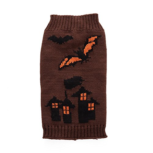 Zerotone Halloween Series Horrible Bat Castle Warm Stand Neck Sweater for Pet Dog Cat Small Animaux XS